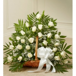 Delicate White Roses Sympathy Basket