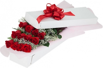 ​12 Red Roses in a Box with Seasonal Blooms Send To Angeles City Philippines