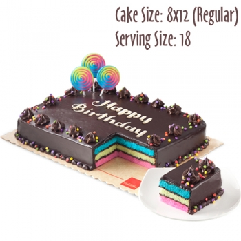 send 8x12 (regular) rainbow dedication cake by red ribbon to angeles city