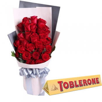 24 Red Roses with Toblerone Bar