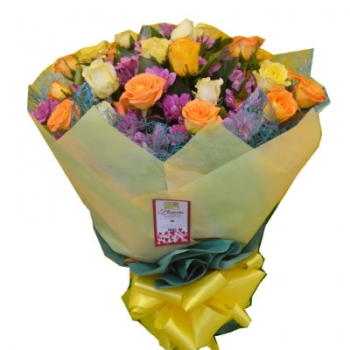 ​12 Yellow Roses Bouquet with Seasonal Flowers Send To Angeles City Philippines