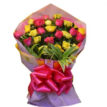 ​24 Pink and Yellow Roses in Bouquet Send To Angeles City Philippines​