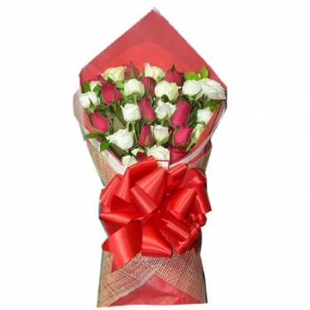 ​24 Red and White Roses in Bouquet Send To Angeles City Philippines