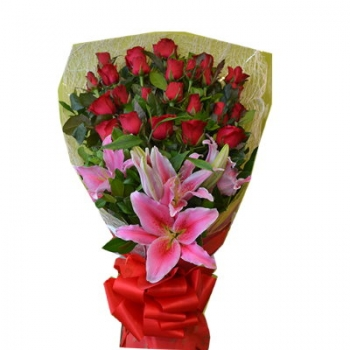 24 Red Roses Bouquet with Calla Lily Send To Angeles City Philippines
