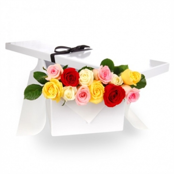 ​12 Mixed Color Roses in a Box Send To Angeles City Philippines
