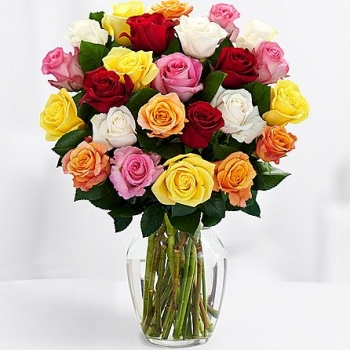 ​24 Mixed Roses in Vase Send To Angeles City Philippines