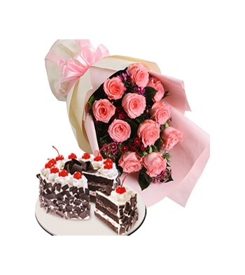 One Dozen Pink Roses with Black Forest Cake