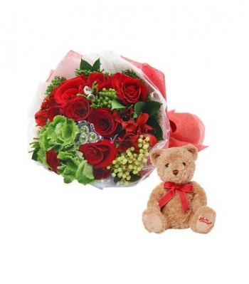 12 Red Roses W/ Cute Teddy Bear
