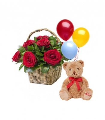 A Basket of Red Roses W/ Teddy Bear and Balloon