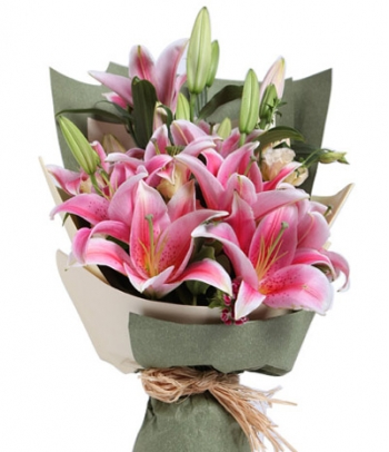 ​6 Pink Lilies in a Bouquet Send To Angeles City Philippines
