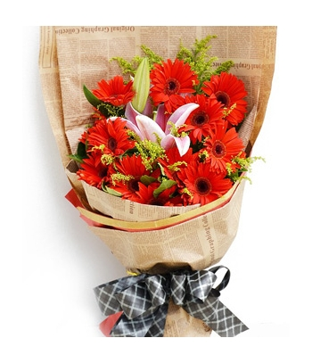 12 Red Gerberas in a Bouquet send to angeles city philippines