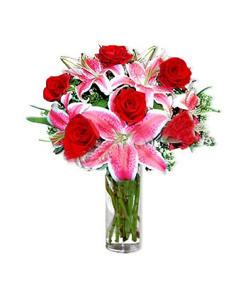 3 Pink Lilies and 6 red Roses in a Beautiful Vase Send To Angeles City Philippines