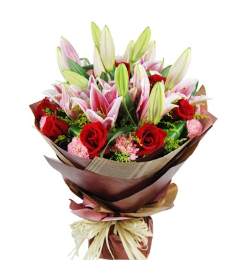6 Pink Lilies In a Bouquet Send To Angeles City Philippines