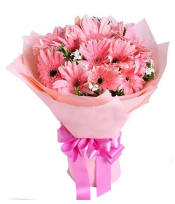 ​12 Pink Gerbera in a Bouquet Send To Angeles City Philippines
