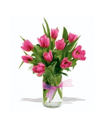 12 pink tulips with free vase to angeles city