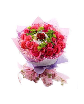 23 pink roses and 1 red rose in center​​ Send To Angeles City Philippines