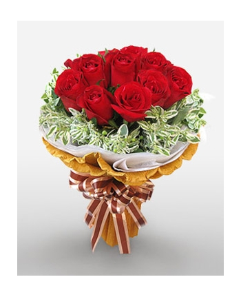 12 Red Roses in Bouquet Send To Angeles City Philippines