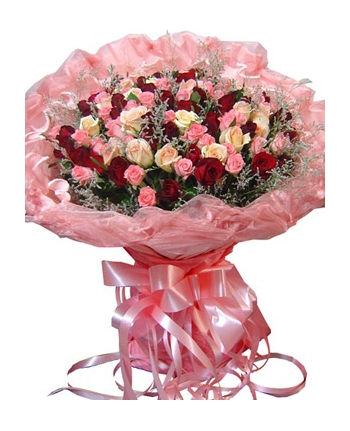 ​48 Mixed Color Roses In Bouquet Send To Angeles City Philippines