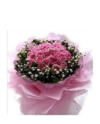​24 Pink Roses in Bouquet with Seasonal Flowers Send To Angeles City Philippines