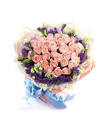​36 Pink Roses in Bouquet with Seasonal Flower  Send To Angeles City Philippines