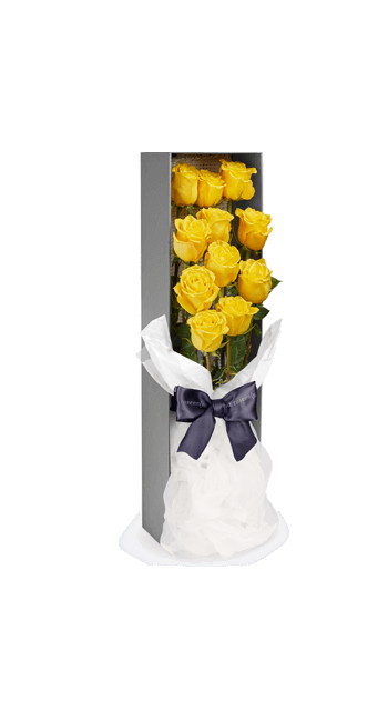 12 yellow roses box send in angeles city