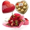 12 Red Roses with Love Chocolate Box