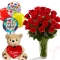 12 Red Rose Vase with teddy Bear and Birthday Balloon