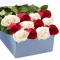 ​12 Red and White Roses in a Box Send To Angeles City Philippines