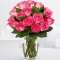 12 Pink Roses in Vase Send To Angeles City Philippines